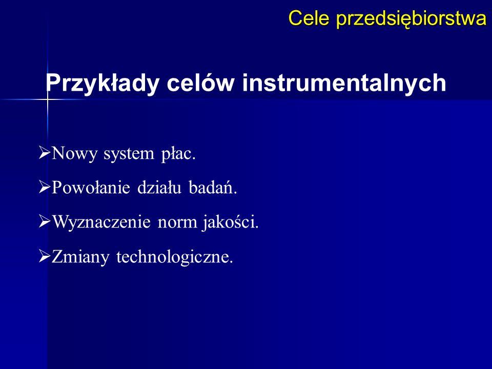 Przykłady celów instrumentalnych