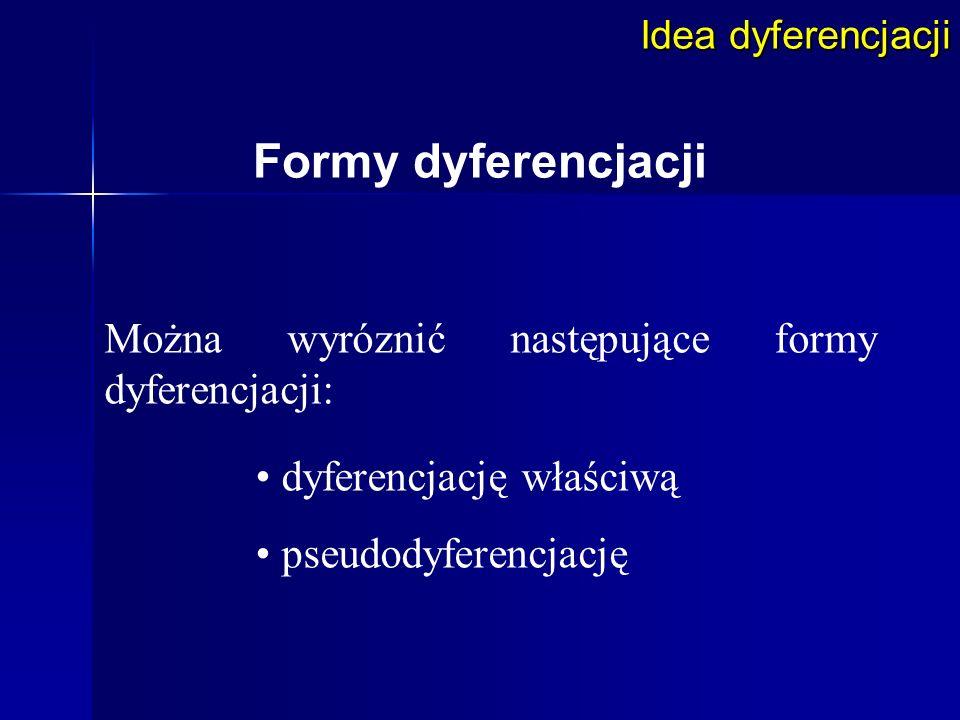 Formy dyferencjacji Można wyróznić następujące formy dyferencjacji: