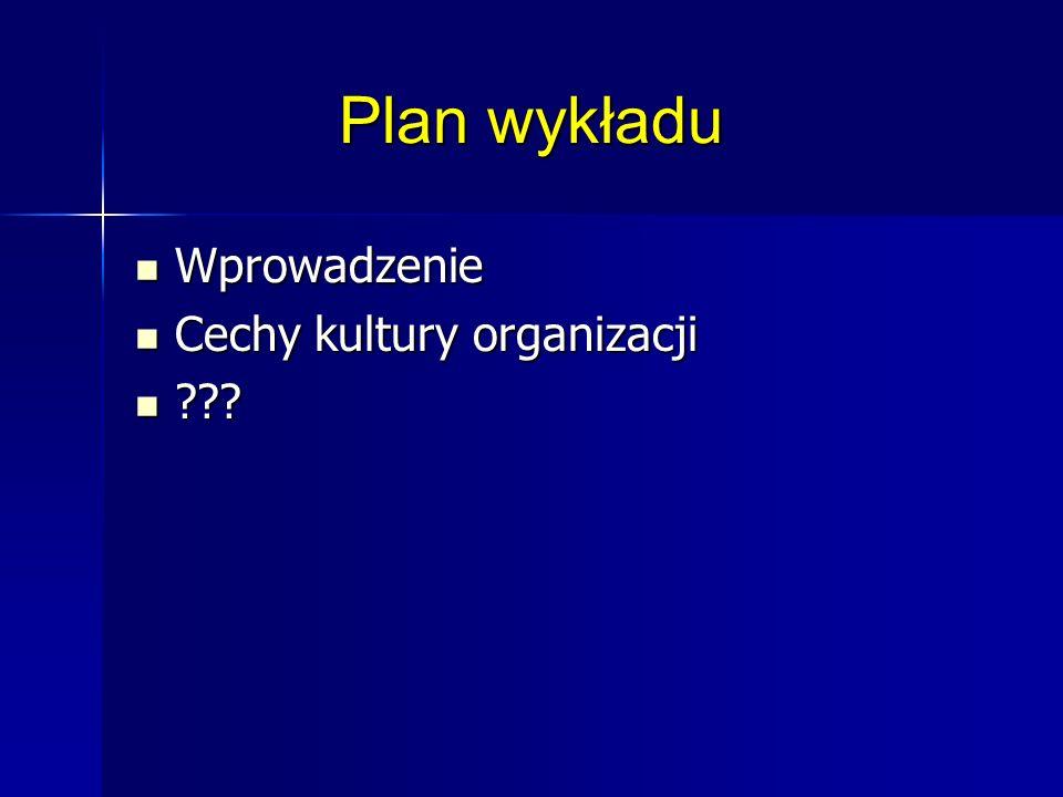 Plan wykładu Wprowadzenie Cechy kultury organizacji
