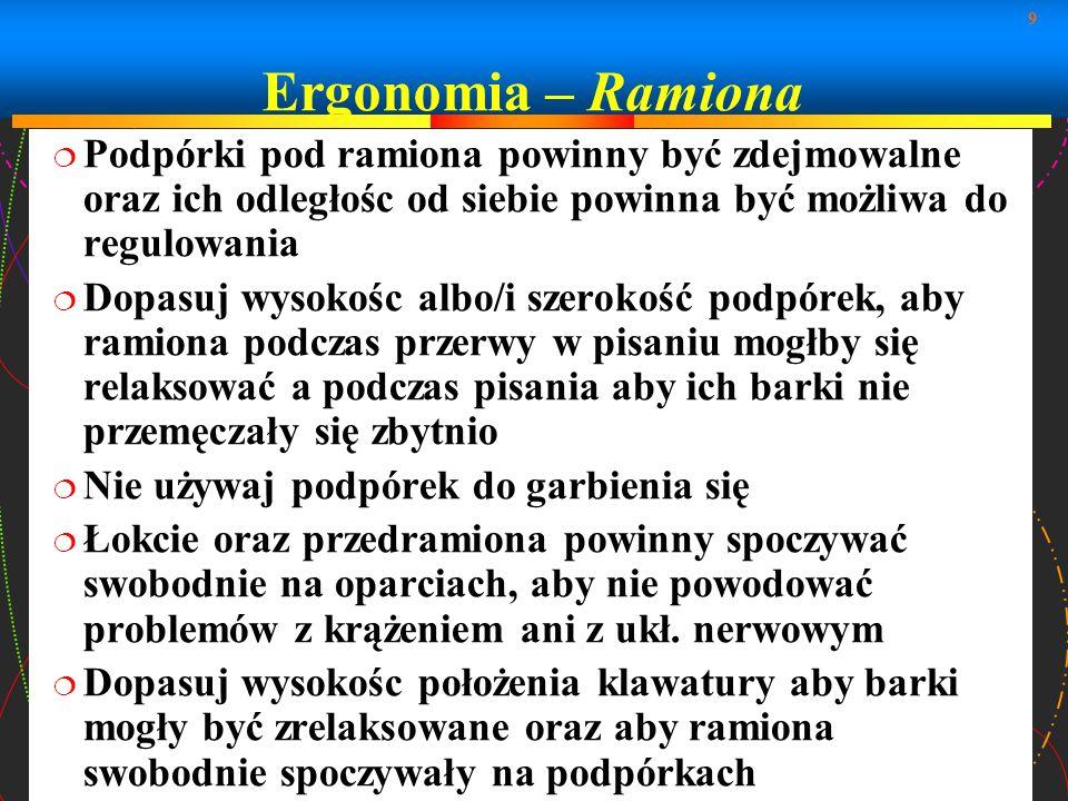 Ergonomia – Ramiona Podpórki pod ramiona powinny być zdejmowalne oraz ich odległośc od siebie powinna być możliwa do regulowania.