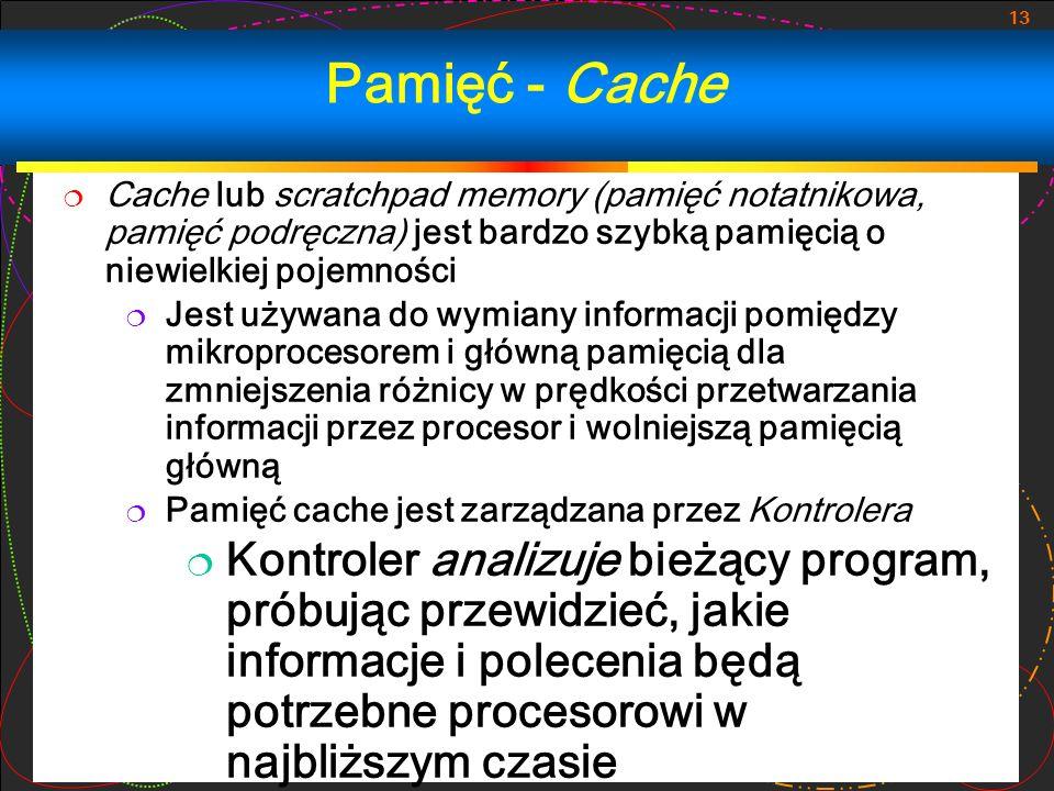 Pamięć - Cache Cache lub scratchpad memory (pamięć notatnikowa, pamięć podręczna) jest bardzo szybką pamięcią o niewielkiej pojemności.
