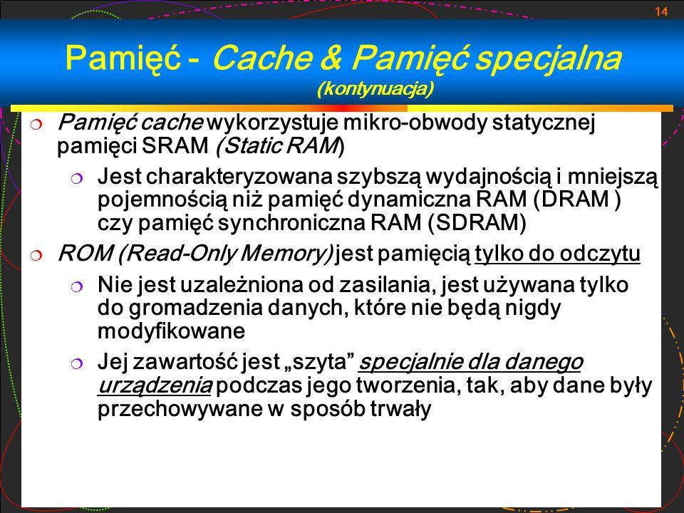Pamięć - Cache & Pamięć specjalna (kontynuacja)
