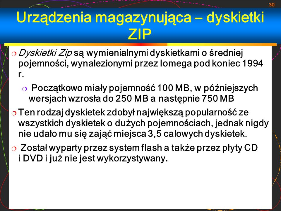 Urządzenia magazynująca – dyskietki ZIP