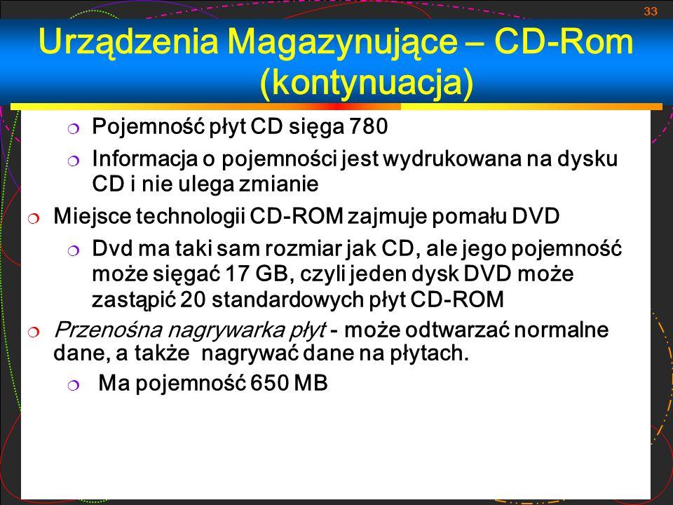 Urządzenia Magazynujące – CD-Rom (kontynuacja)