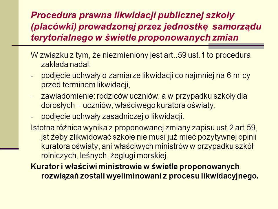 Procedura prawna likwidacji publicznej szkoły (placówki) prowadzonej przez jednostkę samorządu terytorialnego w świetle proponowanych zmian