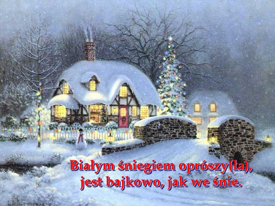 Białym śniegiem oprószy(ła), jest bajkowo, jak we śnie.