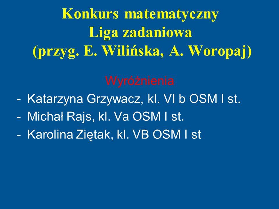 Konkurs matematyczny Liga zadaniowa (przyg. E. Wilińska, A. Woropaj)