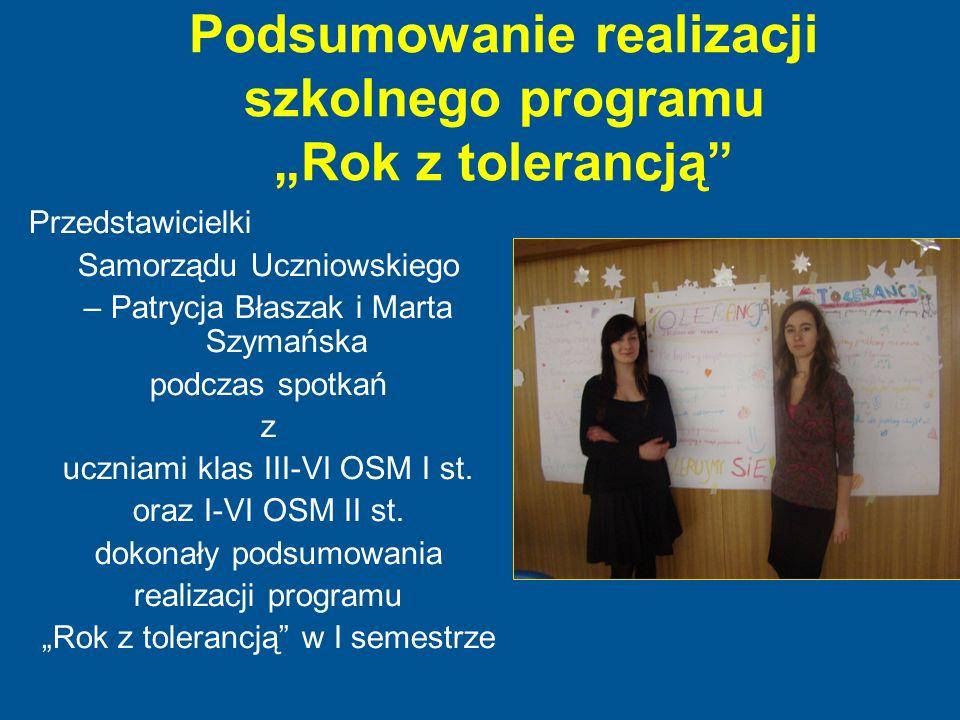 """Podsumowanie realizacji szkolnego programu """"Rok z tolerancją"""