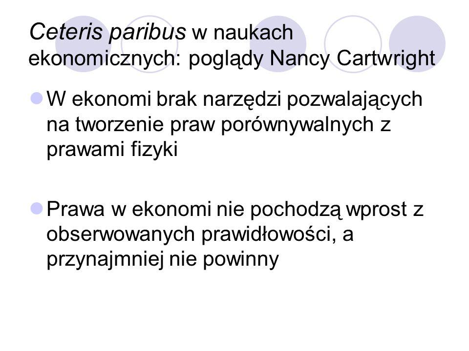 Ceteris paribus w naukach ekonomicznych: poglądy Nancy Cartwright