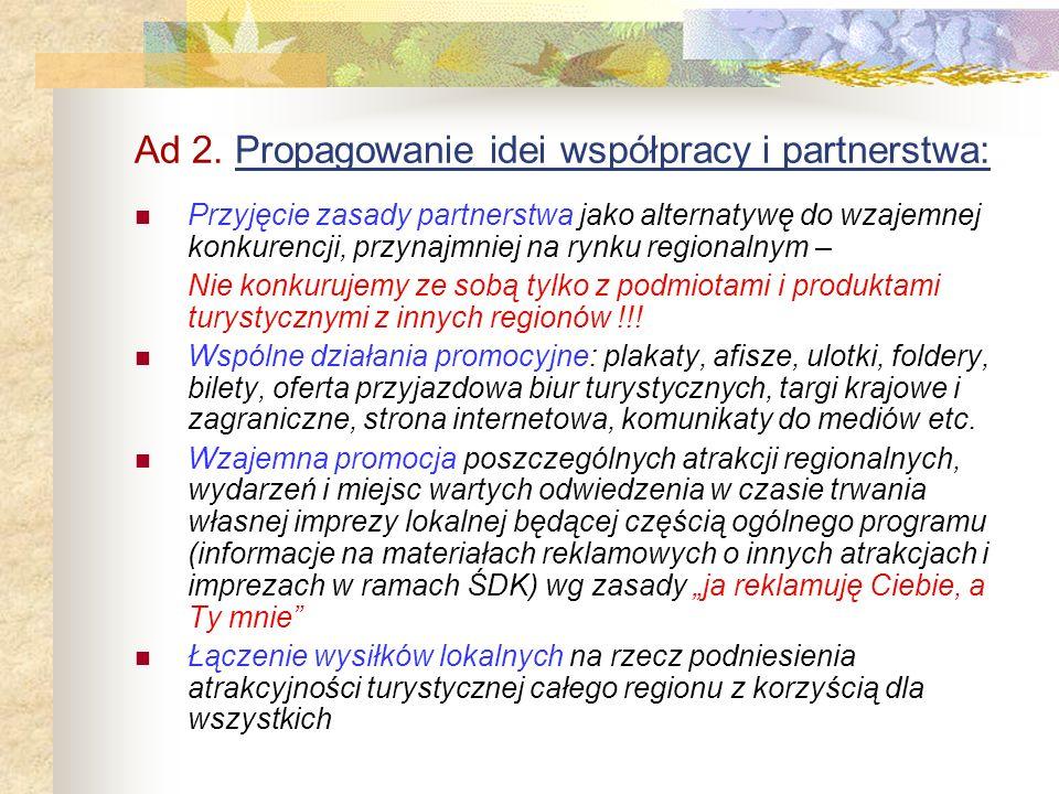 Ad 2. Propagowanie idei współpracy i partnerstwa:
