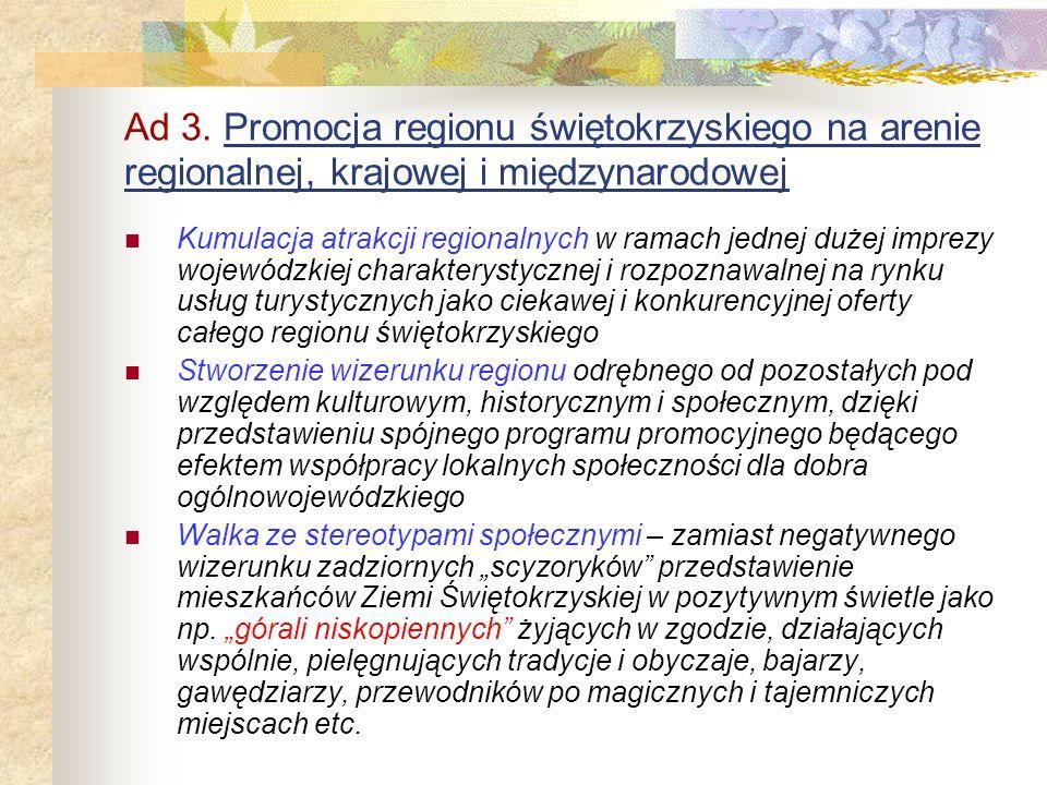 Ad 3. Promocja regionu świętokrzyskiego na arenie regionalnej, krajowej i międzynarodowej