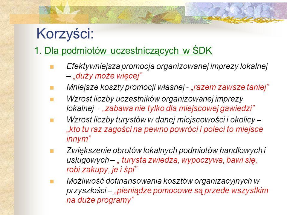 Korzyści: 1. Dla podmiotów uczestniczących w ŚDK
