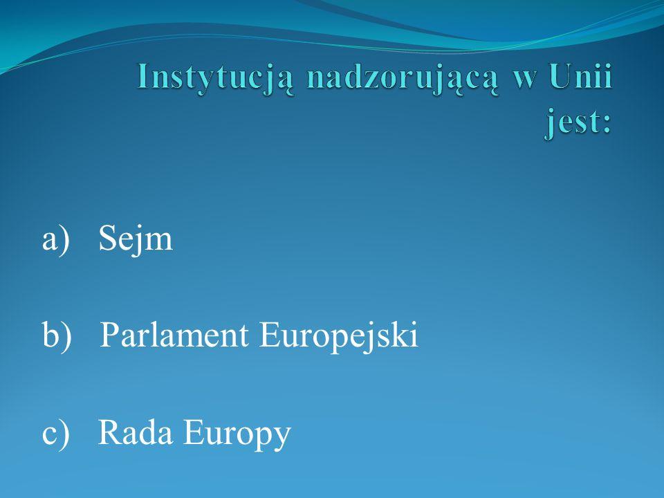 Instytucją nadzorującą w Unii jest: