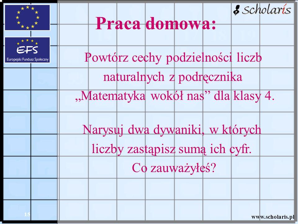 Praca domowa: Powtórz cechy podzielności liczb