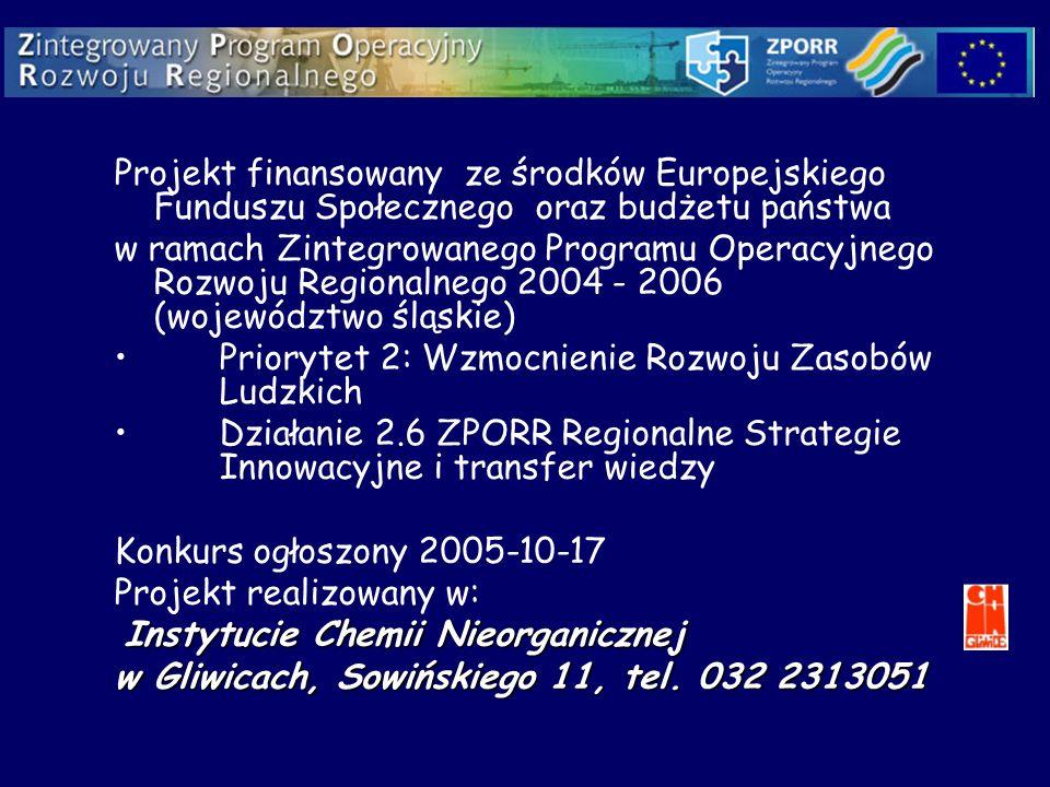 Projekt finansowany ze środków Europejskiego Funduszu Społecznego oraz budżetu państwa