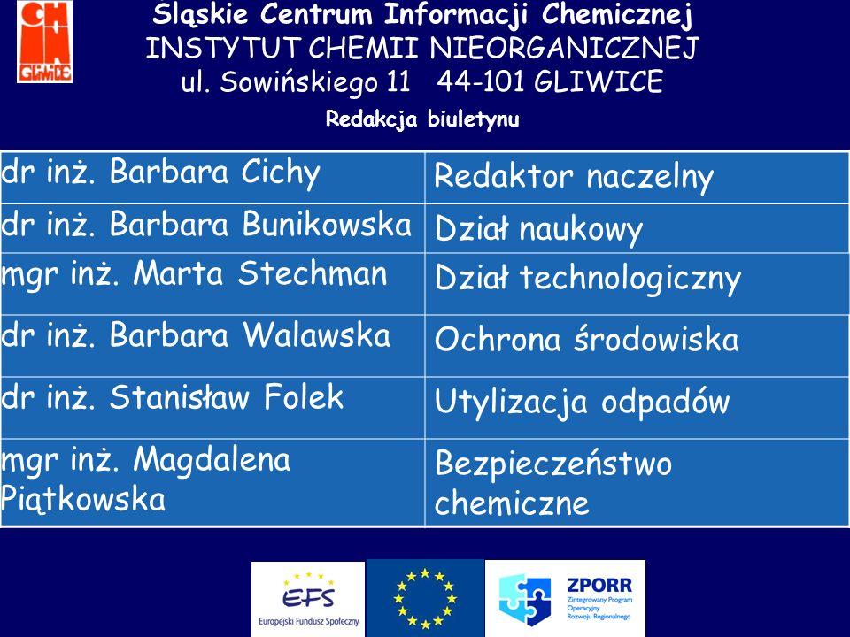 dr inż. Barbara Bunikowska Dział naukowy mgr inż. Marta Stechman