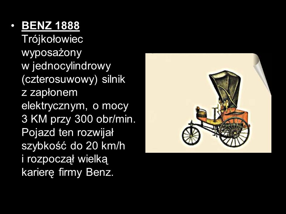 BENZ 1888 Trójkołowiec wyposażony