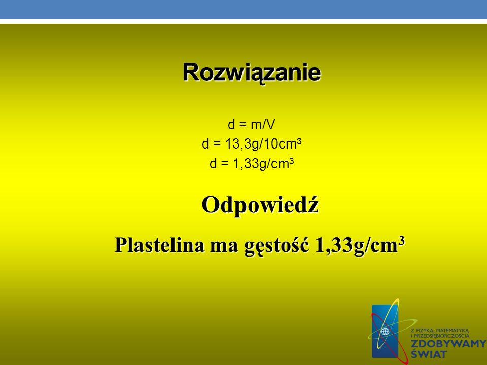 Plastelina ma gęstość 1,33g/cm3