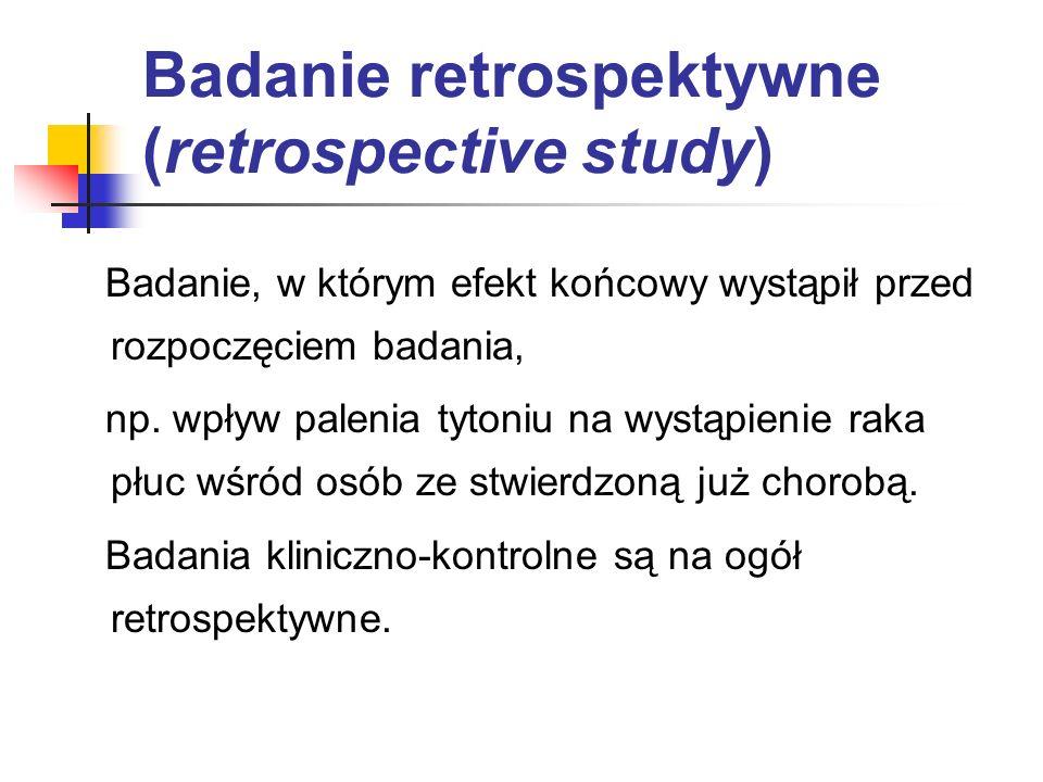 Badanie retrospektywne (retrospective study)