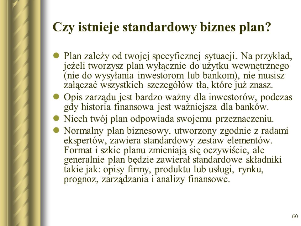 Czy istnieje standardowy biznes plan