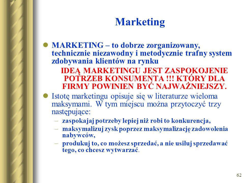 Marketing MARKETING – to dobrze zorganizowany, technicznie niezawodny i metodycznie trafny system zdobywania klientów na rynku.