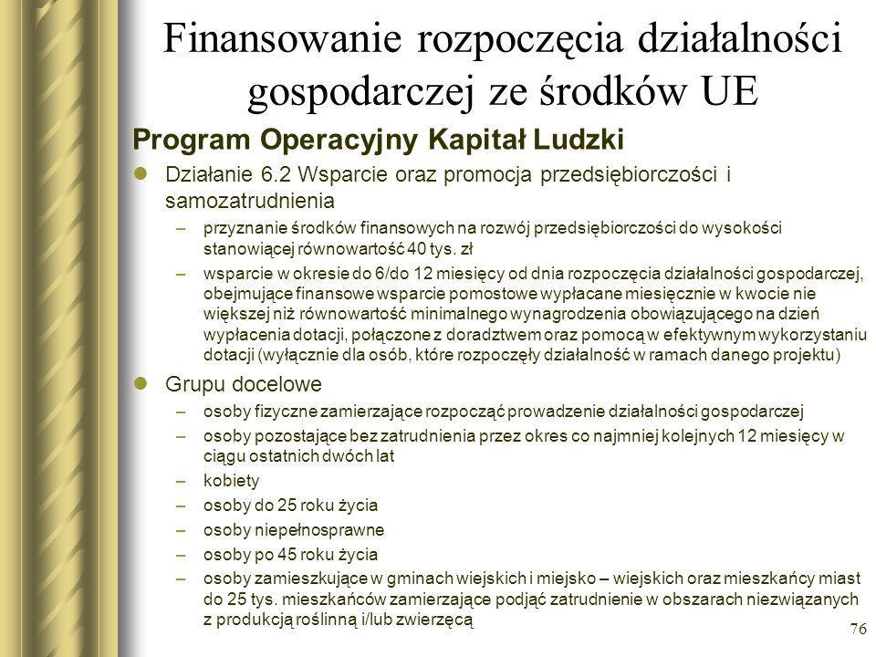 Finansowanie rozpoczęcia działalności gospodarczej ze środków UE