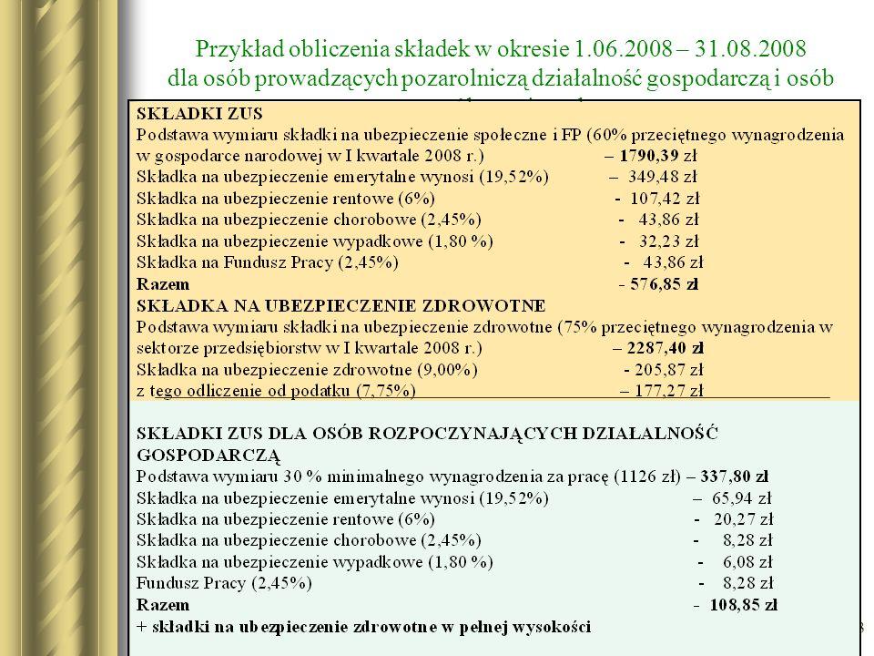 Przykład obliczenia składek w okresie 1. 06. 2008 – 31. 08