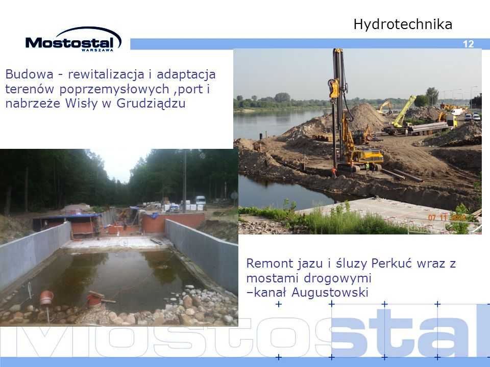 Hydrotechnika 12. Budowa - rewitalizacja i adaptacja terenów poprzemysłowych ,port i nabrzeże Wisły w Grudziądzu.