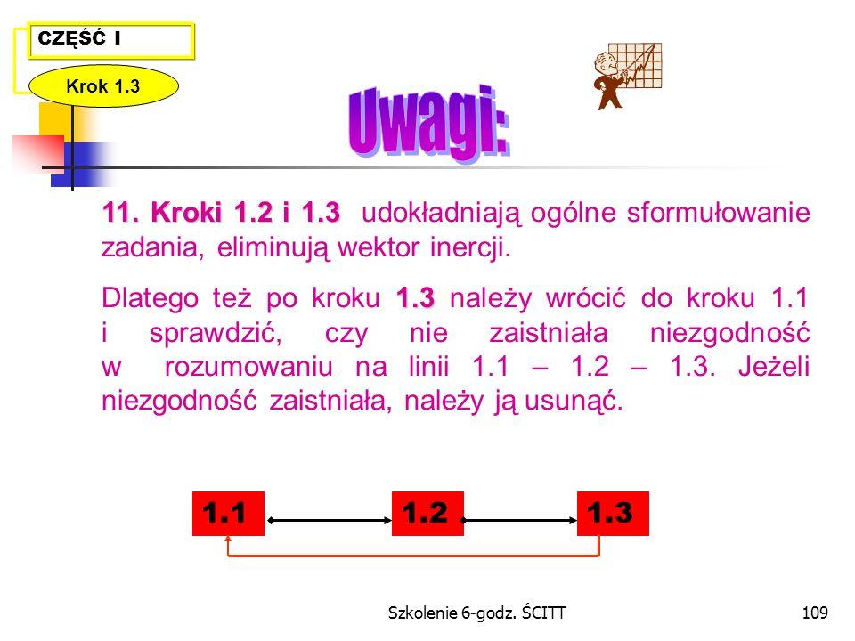 CZĘŚĆ I Krok 1.3. Uwagi: 11. Kroki 1.2 i 1.3 udokładniają ogólne sformułowanie zadania, eliminują wektor inercji.