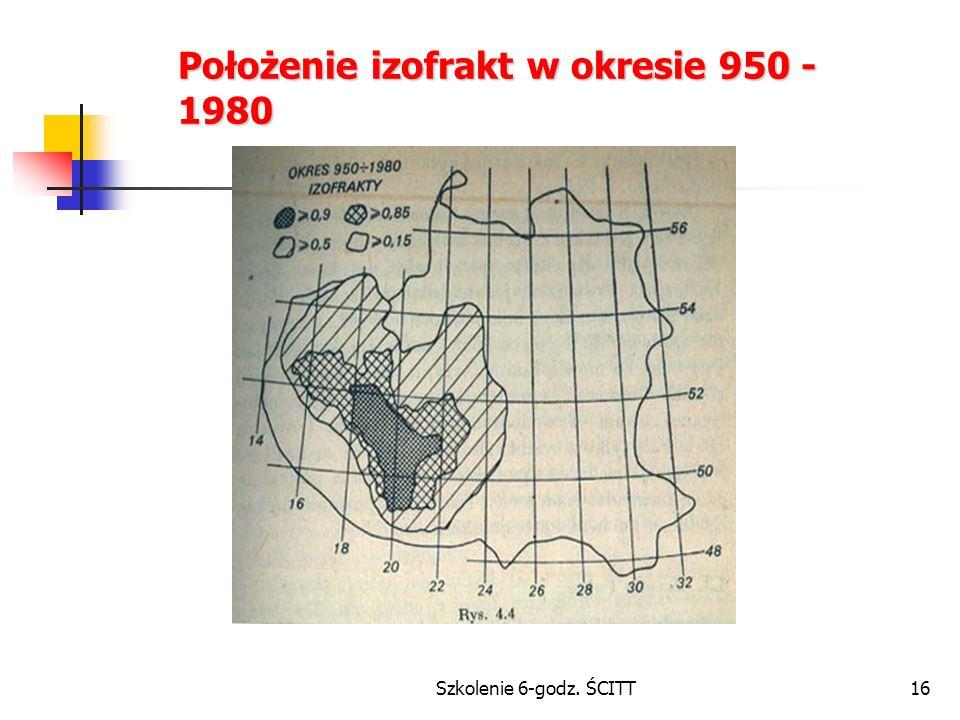 Położenie izofrakt w okresie 950 - 1980
