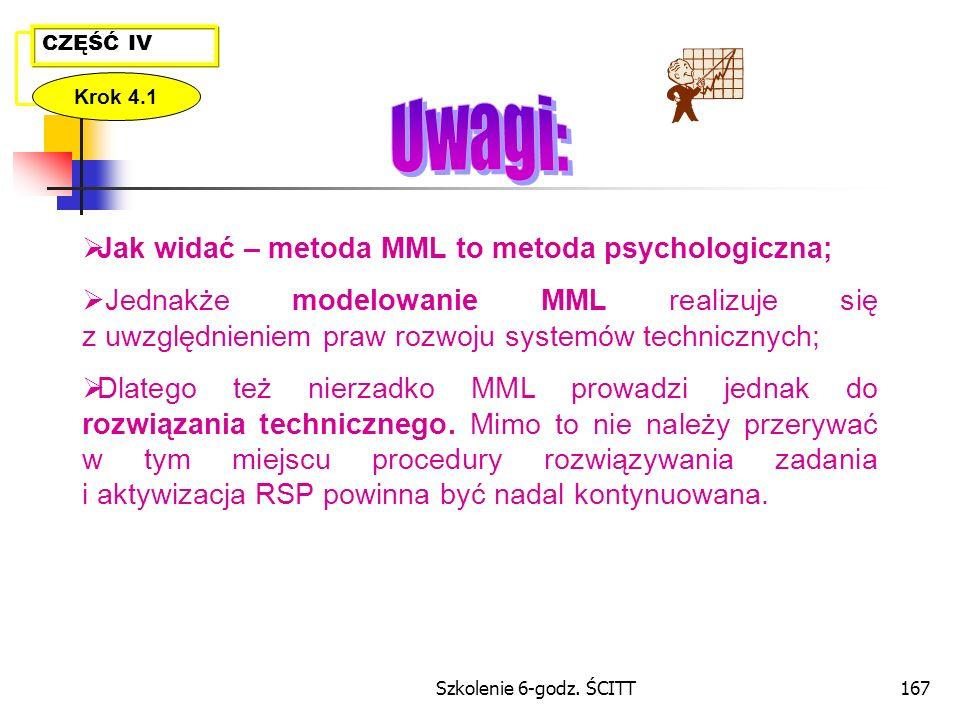 Uwagi: Jak widać – metoda MML to metoda psychologiczna;