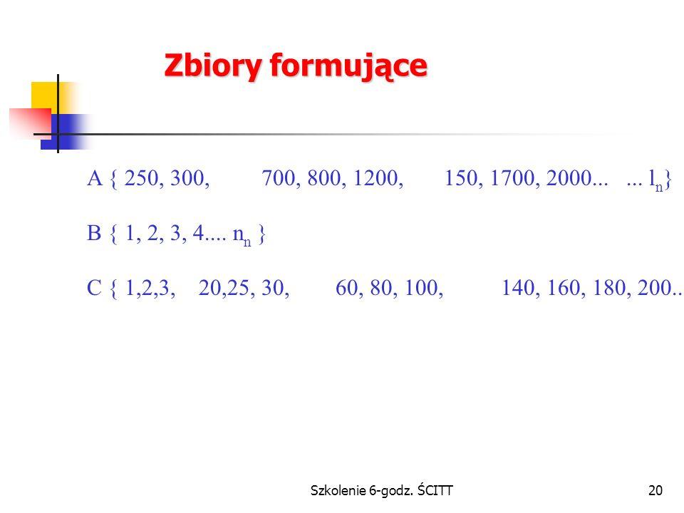 Zbiory formujące A { 250, 300, 700, 800, 1200, 150, 1700, 2000... ... ln} B { 1, 2, 3, 4.... nn }