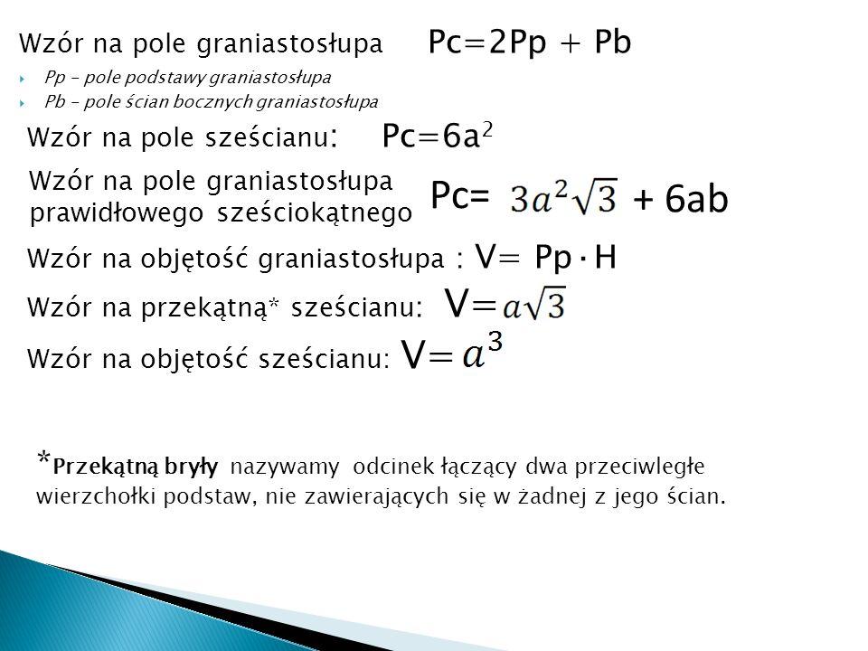 Wzór na pole graniastosłupa Pc=2Pp + Pb