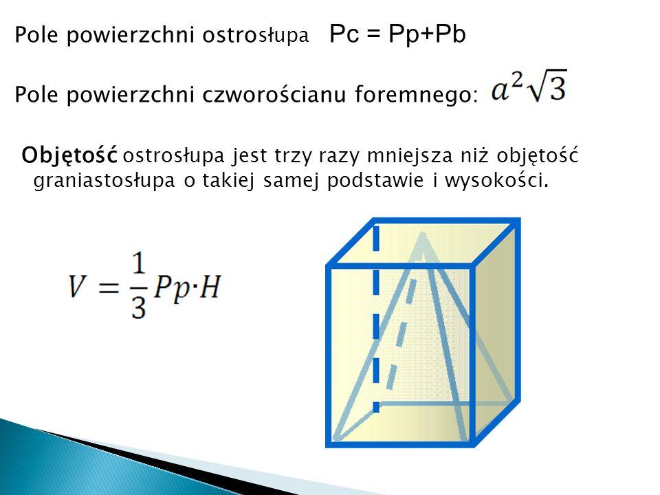 Pole powierzchni ostrosłupa Pc = Pp+Pb Pole powierzchni czworościanu foremnego: Objętość ostrosłupa jest trzy razy mniejsza niż objętość graniastosłupa o takiej samej podstawie i wysokości.