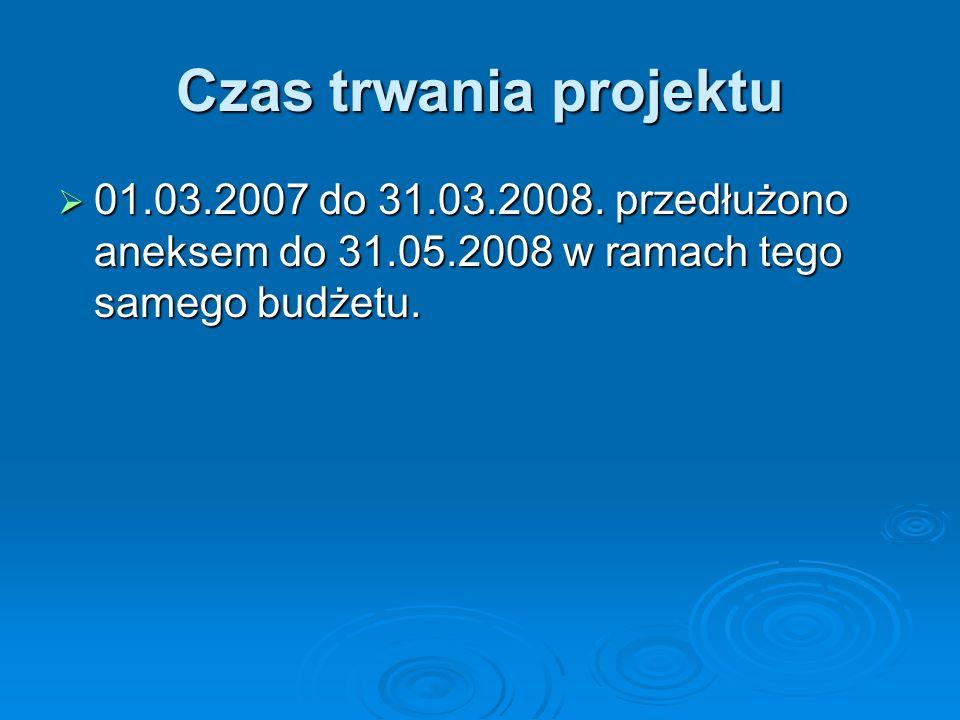 Czas trwania projektu 01.03.2007 do 31.03.2008.