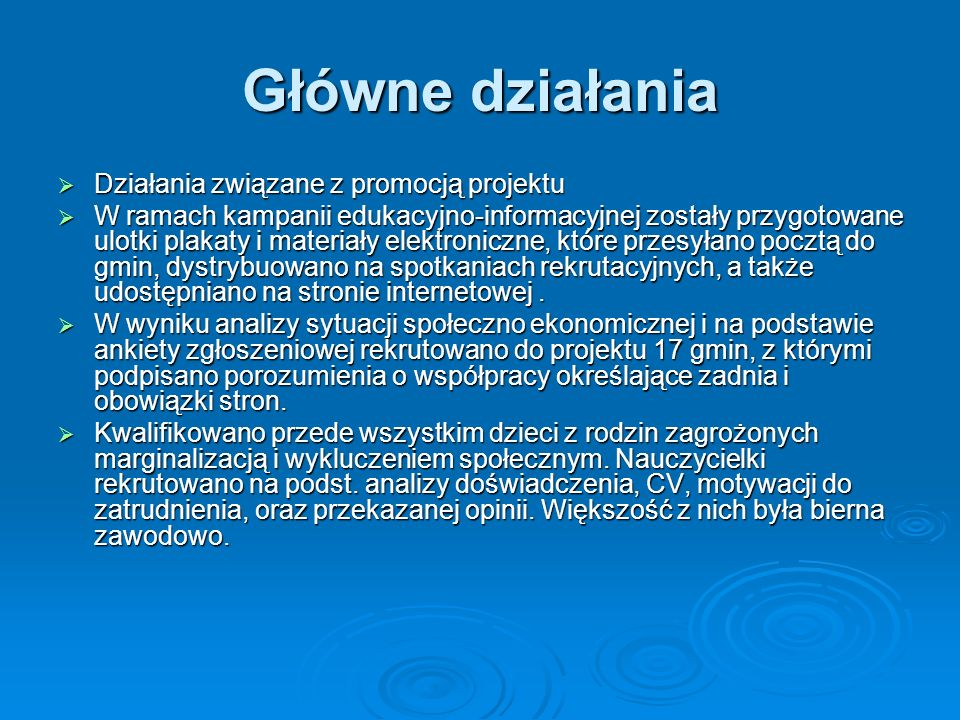 Główne działania Działania związane z promocją projektu