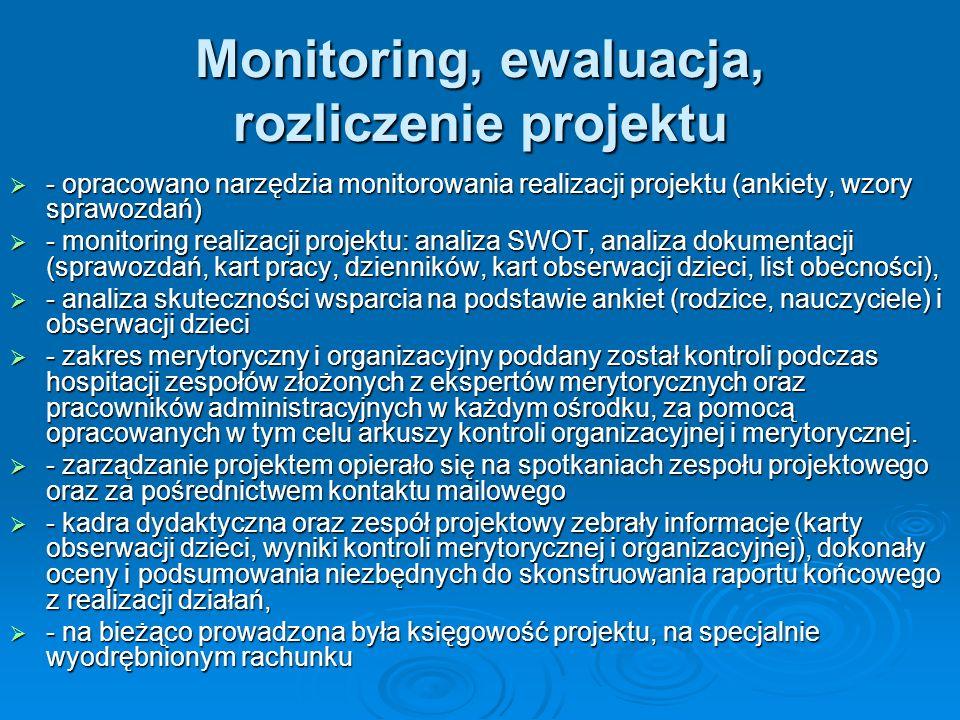 Monitoring, ewaluacja, rozliczenie projektu