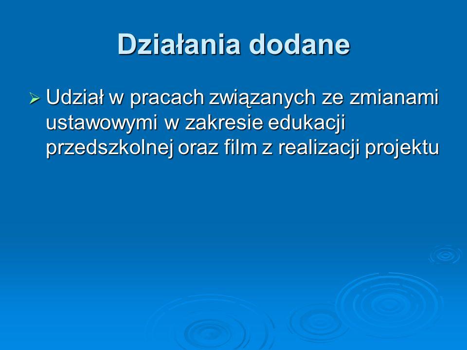 Działania dodane Udział w pracach związanych ze zmianami ustawowymi w zakresie edukacji przedszkolnej oraz film z realizacji projektu.