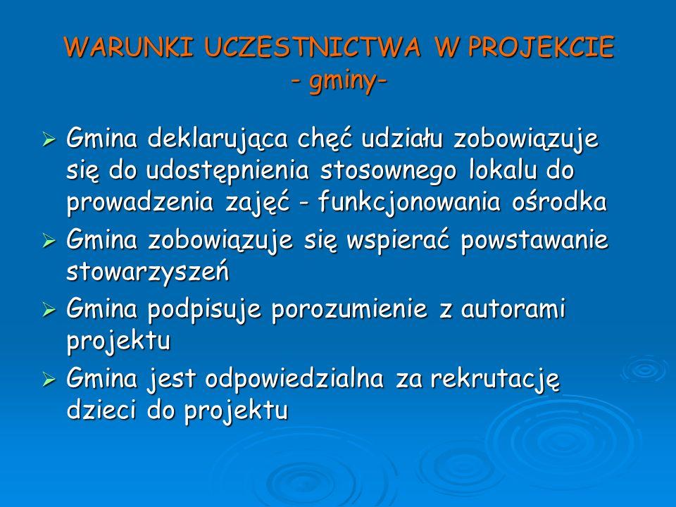 WARUNKI UCZESTNICTWA W PROJEKCIE - gminy-
