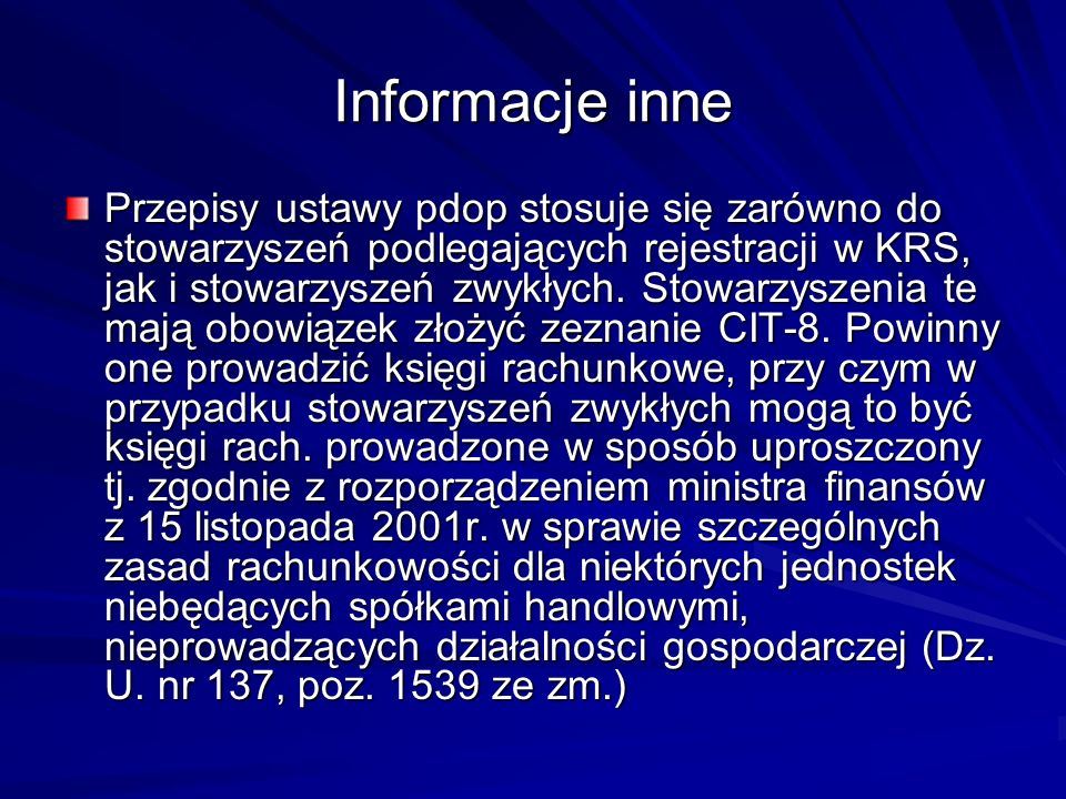 Informacje inne