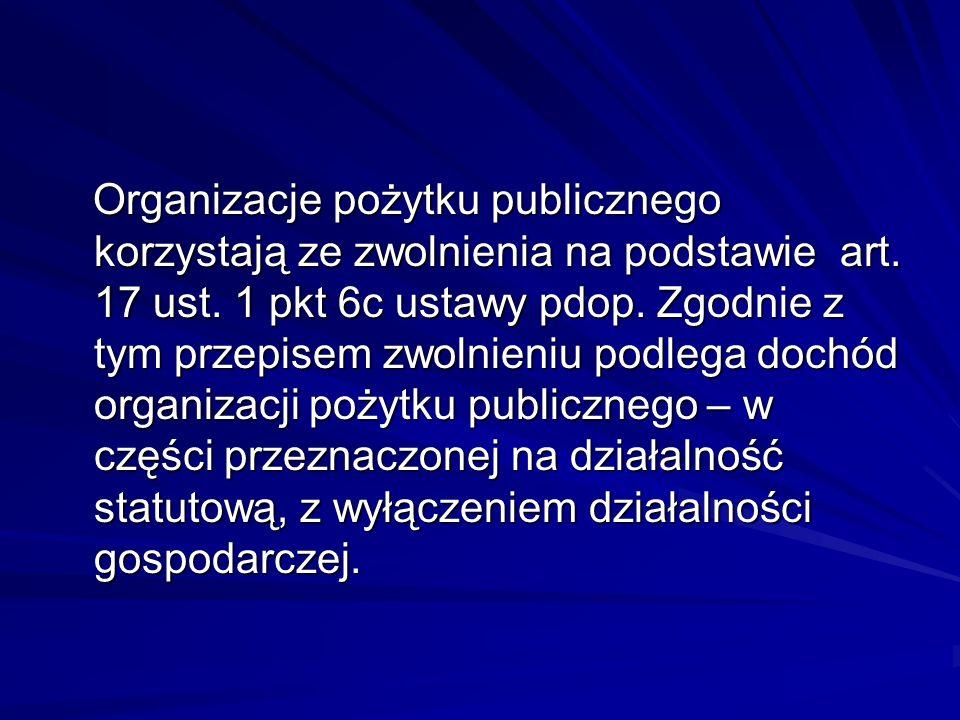 Organizacje pożytku publicznego korzystają ze zwolnienia na podstawie art.
