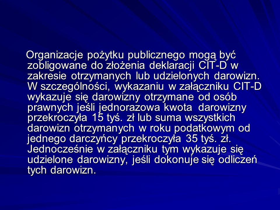 Organizacje pożytku publicznego mogą być zobligowane do złożenia deklaracji CIT-D w zakresie otrzymanych lub udzielonych darowizn.
