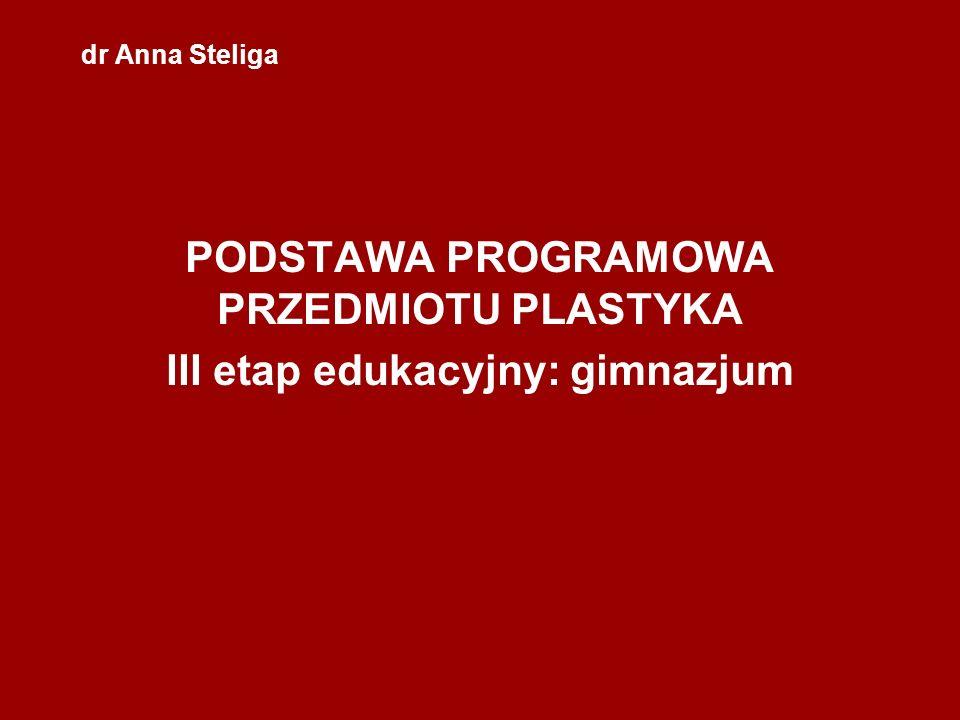 PODSTAWA PROGRAMOWA PRZEDMIOTU PLASTYKA III etap edukacyjny: gimnazjum