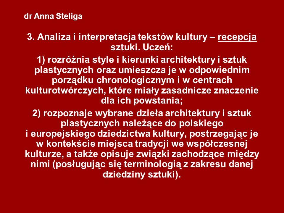 3. Analiza i interpretacja tekstów kultury – recepcja sztuki. Uczeń: