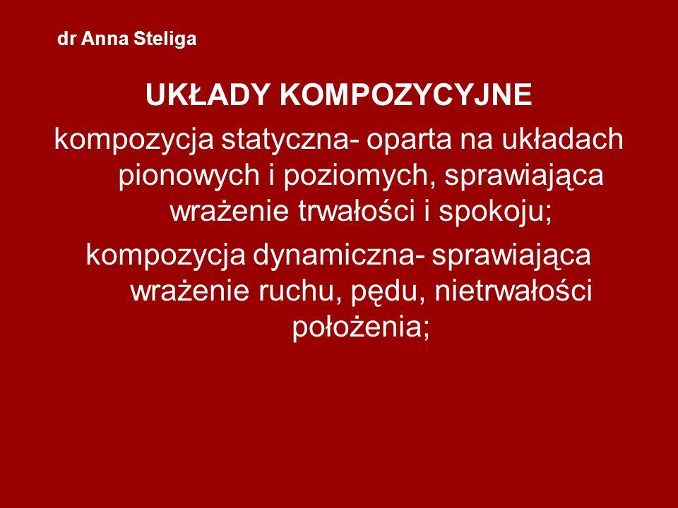 dr Anna Steliga UKŁADY KOMPOZYCYJNE. kompozycja statyczna- oparta na układach pionowych i poziomych, sprawiająca wrażenie trwałości i spokoju;
