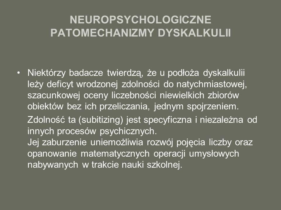 NEUROPSYCHOLOGICZNE PATOMECHANIZMY DYSKALKULII