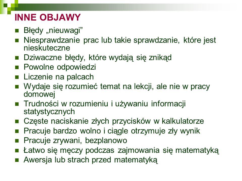 """INNE OBJAWY Błędy """"nieuwagi"""