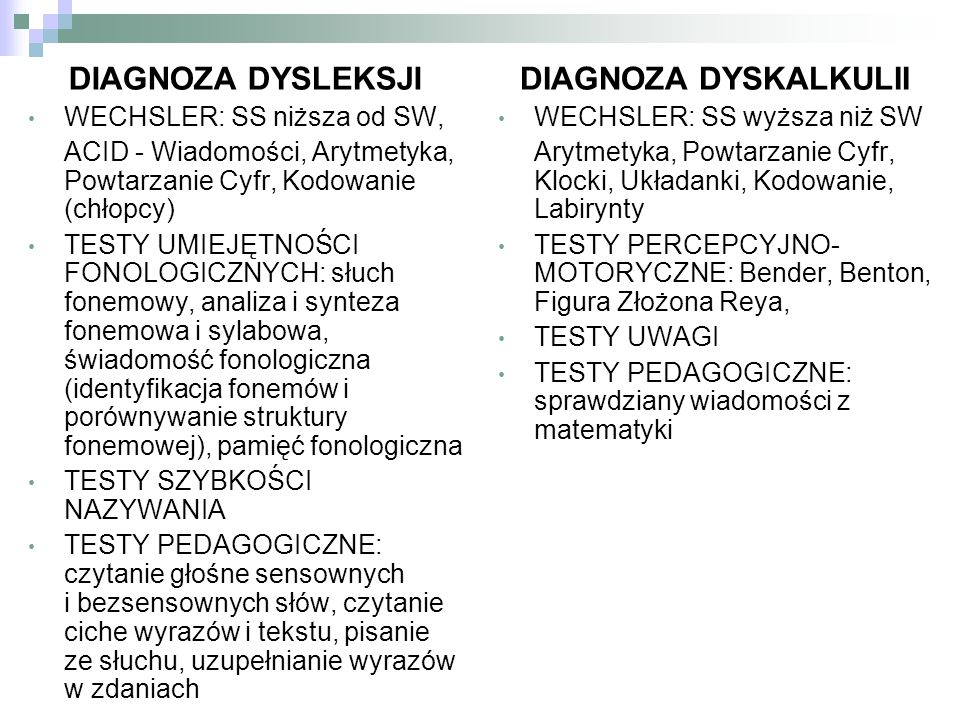 DIAGNOZA DYSLEKSJI DIAGNOZA DYSKALKULII