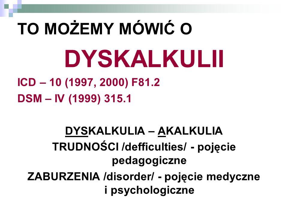 DYSKALKULII TO MOŻEMY MÓWIĆ O ICD – 10 (1997, 2000) F81.2