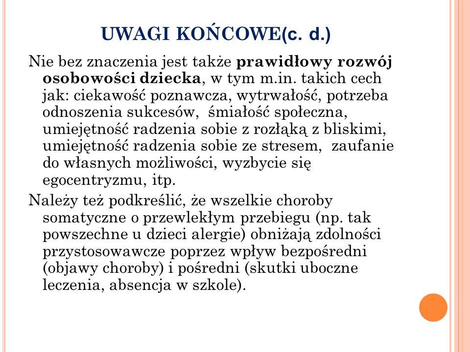 UWAGI KOŃCOWE(c. d.)